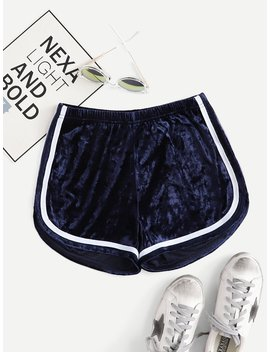 Velvet Striped Tape Side Shorts by Romwe