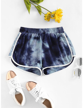 Tie Dye Ringer Shorts by Romwe