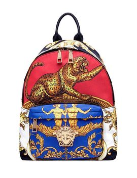 Versace Palazzo Signature Pillow Talk Print Leather And Nylon Back Pack by Versace