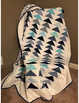 "Homemade Flying Geese Quilt   66"" X 54"" Twin Sized Quilt New Blue & White by Ebay Seller"