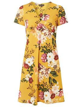 Yellow Floral Print V Neck Skater Dress by Dorothy Perkins
