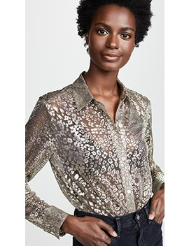 Metallic Leopard Lace Essential Button Down Shirt by Equipment
