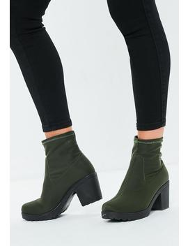 Khaki Chunky Sole Sock Ankle Boots by Missguided