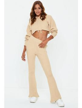 Sand Ribbed Knitted Co Ord Trousers by Missguided