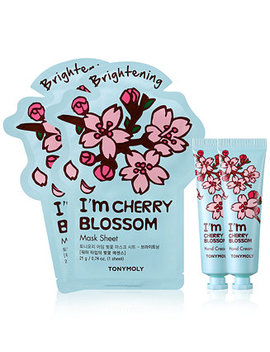 4 Pc. I'm Cherry Blossom Sheet Mask & Hand Cream Set by Tonymoly