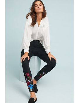 7 For All Mankind Embroidered Mid Rise Skinny Ankle Jeans by 7 For All Mankind