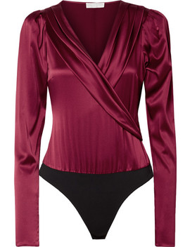 Berdine Wrap Effect Stretch Silk Satin Thong Bodysuit by Caroline Constas