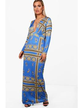 Plus Plunge Neck Paisley Maxi Dress by Boohoo