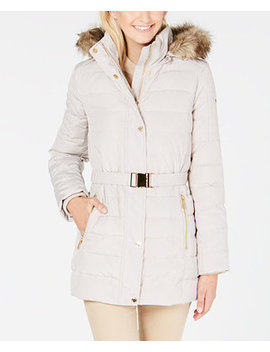 Faux Fur Hooded Belted Down Puffer Coat by Michael Michael Kors