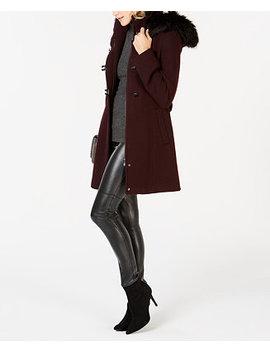 Faux Fur Trim Hooded Coat by Calvin Klein