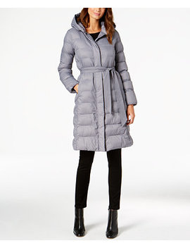 Signature Hooded Belted Lightweight Down Coat by Cole Haan