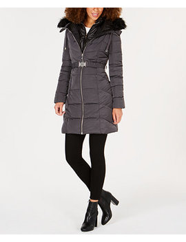 Faux Fur Trim Hooded Belted Puffer Coat by Guess