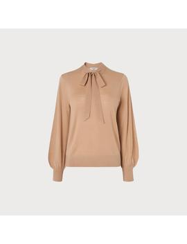 Ester Camel Tie Neck Sweater by L.K.Bennett