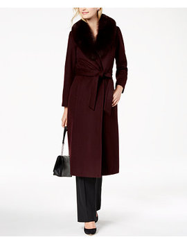 Fox Fur Collar Maxi Wrap Coat by Forecaster