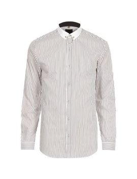 White Stripe Contrast Collar Slim Fit Shirt by River Island