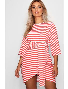 Plus Elle Stripe Kimono Sleeve Tie Waist Wrap Dress by Boohoo