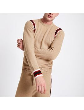 Camel Knit Slim Fit Contrast Tape Side Jumper by River Island