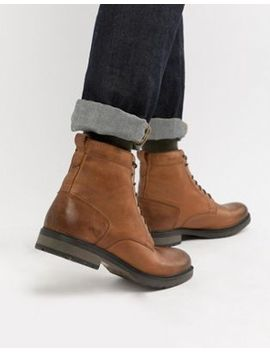 Asos Lace Up Boots In Tan Leather With Chunky Sole by Asos