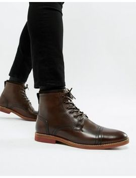 Asos Lace Up Boots In Brown Leather With Contrast Sole by Asos