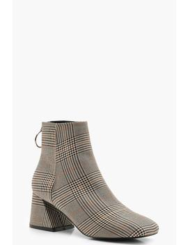 Check Low Flare Block Heel Shoe Boots by Boohoo