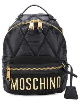 Quilted Logo Backpack by Moschino
