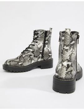 New Look Lace Up Flat Hiker Boots In Snake Print by New Look