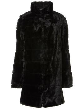 Black Carved Faux Fur Coat by Dorothy Perkins