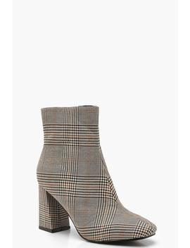 Check Square Toe Shoe Boots by Boohoo