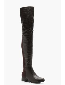 Croc Knee High Boots by Boohoo