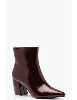 Curved Heel Pointed Ankle Shoe Boots by Boohoo