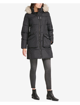 Faux Fur Trim Hooded Puffer Coat, Created For Macy's by Dkny
