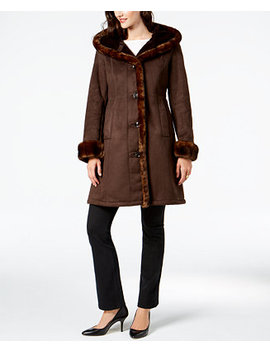 Faux Fur Trim Coat by Jones New York