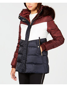 Faux Fur Trim Colorblocked Puffer Coat by Vince Camuto