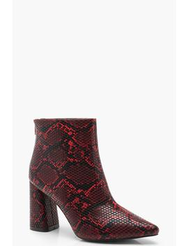 Snake Block Heel Pointed Shoe Boots by Boohoo
