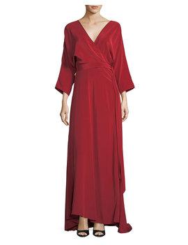 Long Sleeve Floor Length Silk Faux Wrap Dress by Neiman Marcus