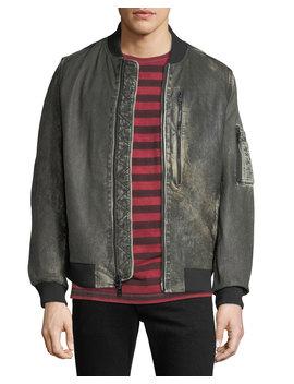 Men's Leather Bomber Jacket by Hudson