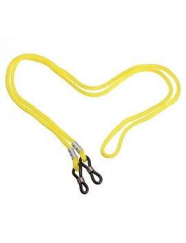 Round Sunglasses, Spring Hinged Arms, Free Yellow Neck Cord, Black Frame, Black Lens by Eyewear World