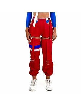 Malianna Women Side Hollow Out Buckle Adjustable Waist Streetwear Hit Color Pants by Malianna