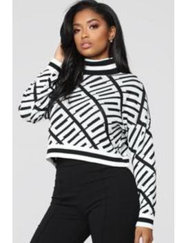 So Rich Sweater   White/Black by Fashion Nova