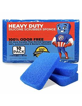 Stk Heavy Duty Silicone Scrubber Sponges (10 Pack)   Modern Antimicrobial Kitchen Sponges   100 Percents Mold Mildew And Bacteria Resistant   Zero Smell Technology   Silicone Sponge   10x More Durable by Stk