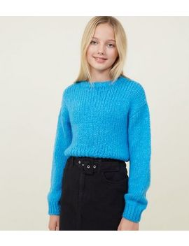 Girls Bright Blue Fluffy Knit Jumper by New Look