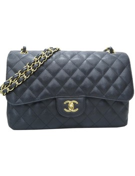 Classic Jumbo Double Black Caviar Shoulder Bag by Chanel