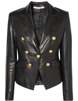 Cooke Double Breasted Leather Blazer by Veronica Beard