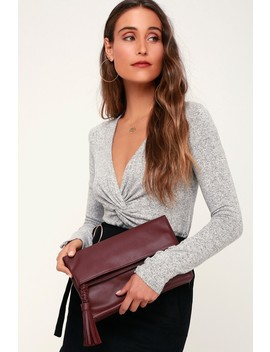 Good As Fold Burgundy Clutch by Lulus