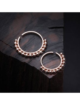 Rose Gold Bali Beads Spherule Bendable Nose Hoop by Etsy