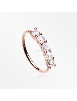 Rose Gold Multi Gem Princess Prong Sparkles Bendable Hoop Ring by Etsy