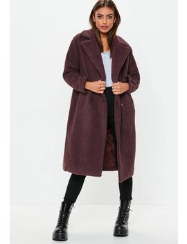 Petite Wine Longline Borg Coat by Missguided