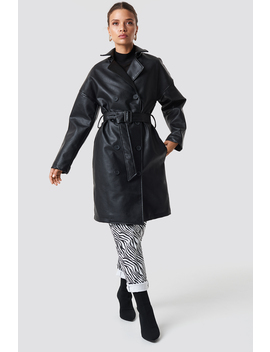 Double Breasted Pu Coat by Na Kd Trend