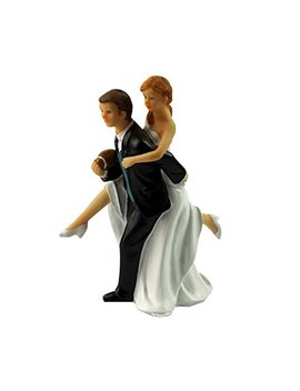 Acme Playful Football Wedding Couple Figurine Wedding Cake Topper by Acme