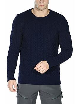 Rocorose Men's Cable Knit Long Sleeves Crewneck Sweater by Rocorose